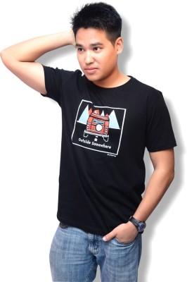 Artbeings Graphic Print Men's Round Neck Black T-Shirt