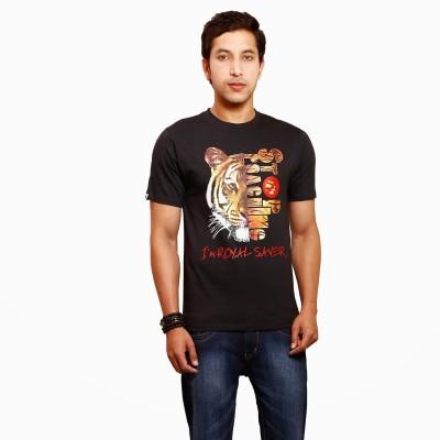 Yaari V4c Self Design Men's Round Neck Black T-Shirt
