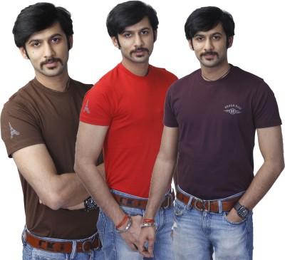 Rough Ride Solid Men's Round Neck Brown, Red, Purple T-Shirt