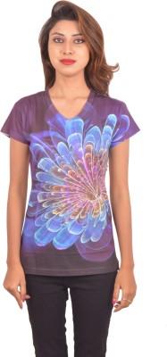 Blueash Graphic Print Women's V-neck Purple T-Shirt