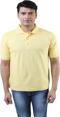 Lee Mark Solid Men's Polo Neck Yellow T-Shirt