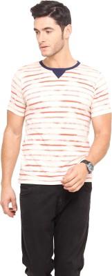 Northern Lights Striped Men's Round Neck White, Red T-Shirt