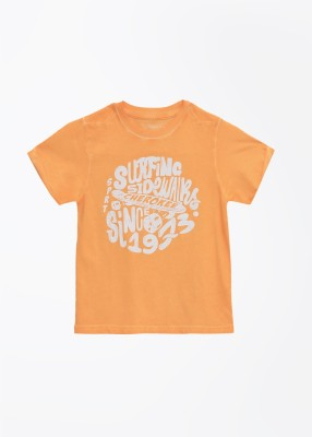 Cherokee Kids Printed Boy's Round Neck Orange T-shirt
