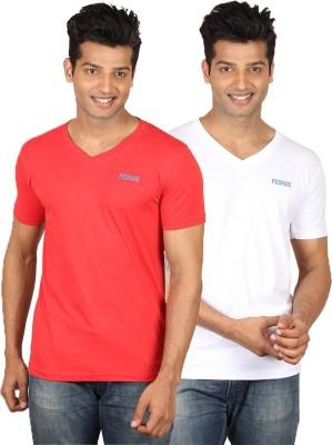 Poshuis Solid Men's V-neck Red, White T-Shirt