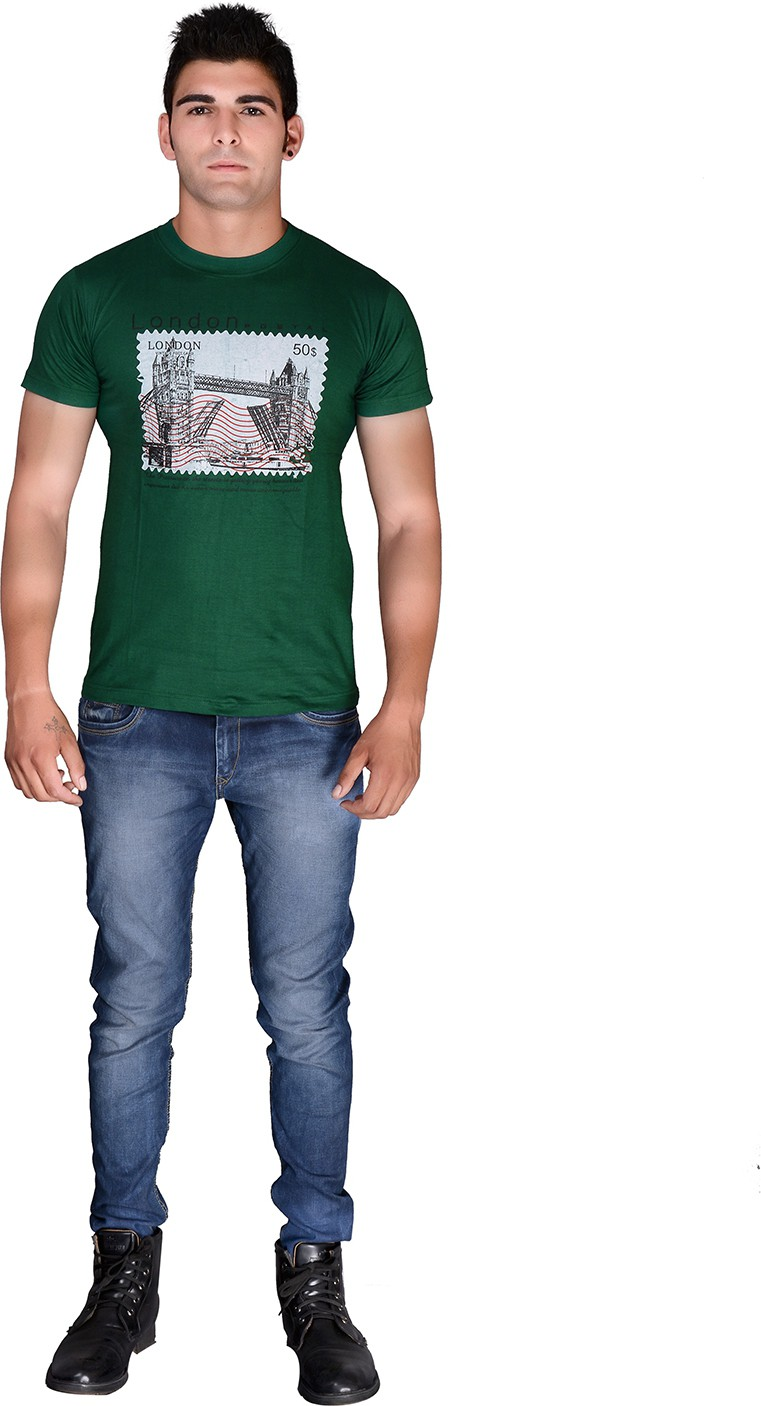 Wolf style Printed Men's Round Neck Green T-Shirt