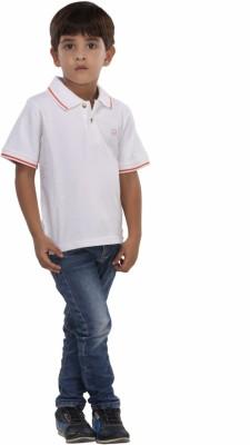 Trmpi Solid Boy's Polo White T-Shirt