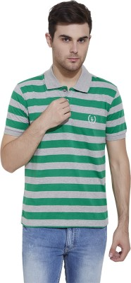 Urban Nomad By INMARK Striped Men's Polo Neck Green, Grey T-Shirt