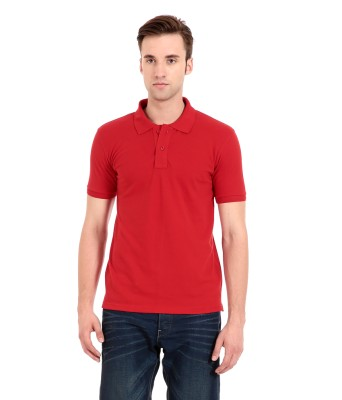 Zeug Solid Men's Polo Neck Red T-Shirt