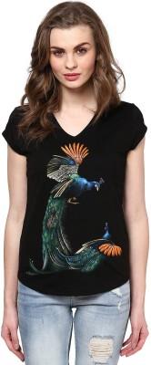 Maati Self Design Women's V-neck T-Shirt