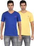 U Lead Solid Men's V-neck Yellow, Blue T...