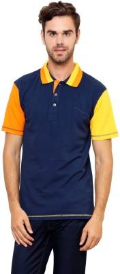 Lemon & Vodka Solid Men's Polo Neck Dark Blue T-Shirt