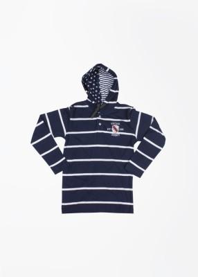 Gini & Jony Striped Boy's Hooded Dark Blue T-Shirt