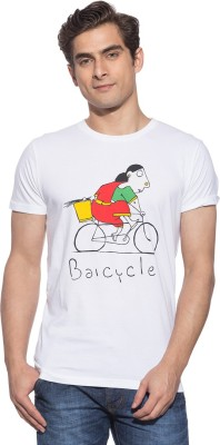 Chimp Graphic Print Men's Round Neck White T-Shirt