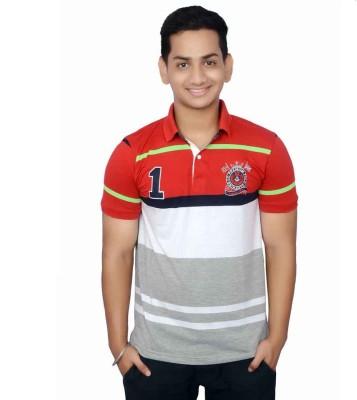 Lemon Slice Striped Men's Polo Neck T-Shirt