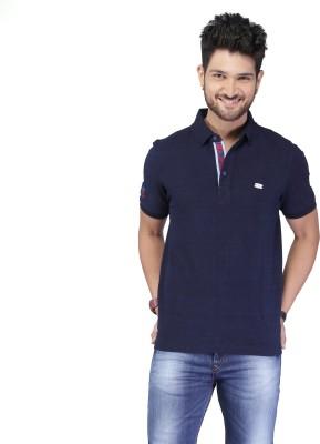 Nostrum Jeans Solid Men's Polo Neck Dark Blue T-Shirt