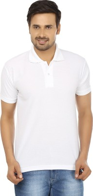 Forever19 Solid Men's Polo Neck White T-Shirt