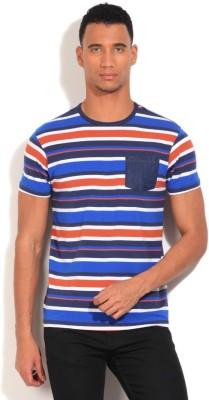 Flippd Striped Men's Round Neck White, Blue T-Shirt