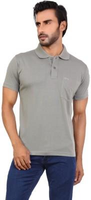 Awack Solid Men's Polo Neck Grey T-Shirt