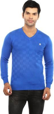 GOT IT Solid Men's V-neck Blue T-Shirt