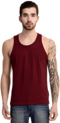 Mimoda Solid Men's Round Neck Maroon T-Shirt