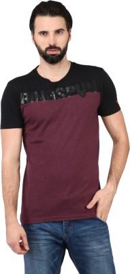 Ringspun Printed Men's Round Neck Maroon T-Shirt