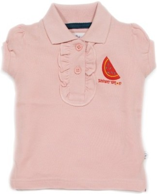 Solittle Embroidered Baby Girl's Polo Pink T-Shirt