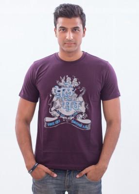 Punjabi Heritage Printed Men,s Round Neck Purple T-Shirt