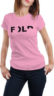 Girlful Printed Women's Round Neck Pink T-Shirt