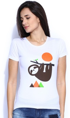 Le Bison Printed Women's Round Neck White T-Shirt