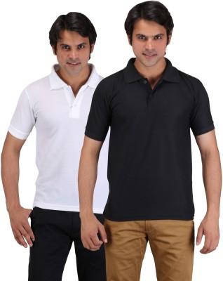 Aqua Solid Men's Polo Neck White, Black T-Shirt