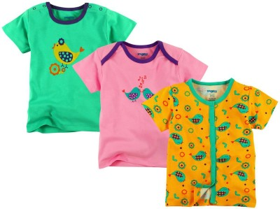 Snuggles Printed Baby Girl's Round Neck Multicolor T-Shirt