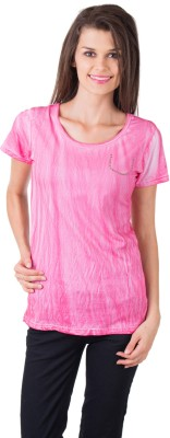Gypsy Soul Solid Women's Round Neck Pink T-Shirt