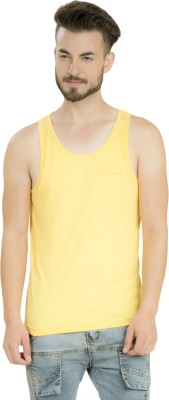 Clst Solid Men's Round Neck Yellow T-Shirt