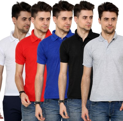 Grand Bear Solid Men's Polo Neck White, Red, Blue, Black, Grey T-Shirt
