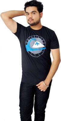 Parv Collections Printed Men's Round Neck Black T-Shirt
