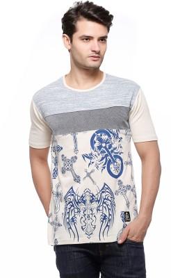 Fasnoya Printed Mens Round Neck White T-Shirt