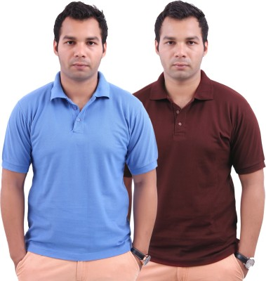 Stylenfly Solid Men's Polo Neck Light Blue, Maroon T-Shirt