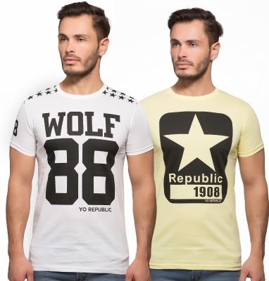 Yo Republic Printed Men's Round Neck White, Yellow T-Shirt
