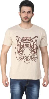 Ebry Printed Men's Round Neck Beige T-Shirt