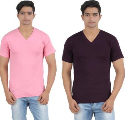 Lyril Solid Men's V-neck Pink, Purple T-Shirt