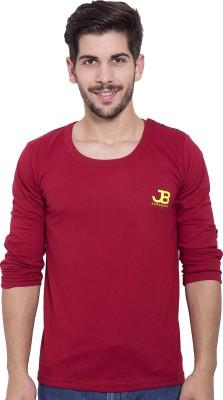 Jangoboy Solid Men's Round Neck Maroon T-Shirt