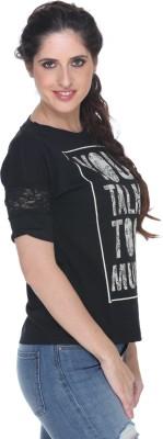 Fast n Fashion Printed Women's Boat Neck Black T-Shirt
