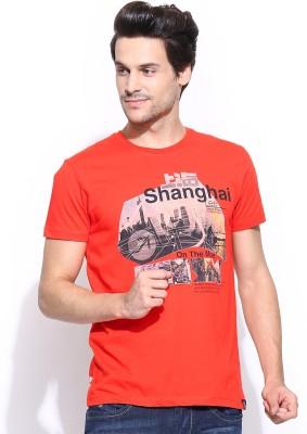 Lee Printed Men's Round Neck Orange T-Shirt