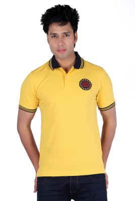 Austin Wood Solid Men's Polo Neck Yellow T-Shirt