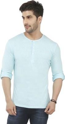 Nick & Jess Solid Men's Henley Blue T-Shirt
