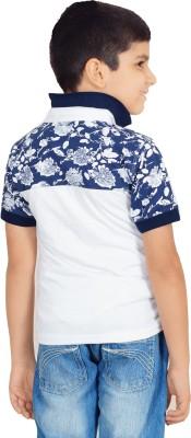 Naughty Ninos Printed Boy's Polo Neck White T-Shirt