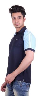 EX10 Solid Men,s Polo Neck Dark Blue T-Shirt