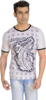 Total Football Printed Men's Round Neck Grey T-Shirt