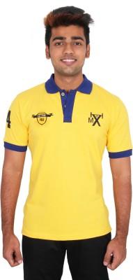 Moxi Printed Men's Polo Neck Yellow T-Shirt