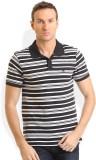 HW Striped Men's Round Neck Black T-Shir...